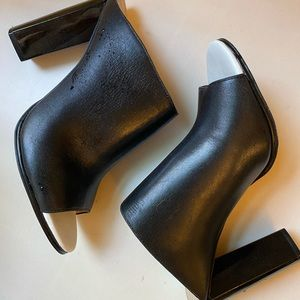French Connection Black Leather Heeled Mules